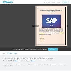 Accomplish Organizational Goals with Reliable SAP BPC Consultant!