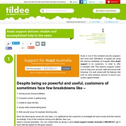 Avast support delivers reliable and accomplished help to the users on Tildee