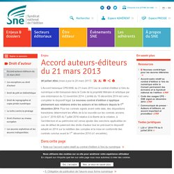 Accord auteurs-éditeurs du 21 mars 2013