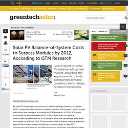Solar PV Balance-of-System Costs to Surpass Modules by 2012, According to GTM Research