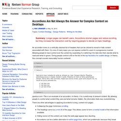 Accordions for Complex Website Content on Desktops