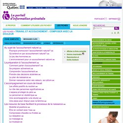 Travail et accouchement : composer avec la douleur - INSPQ - Portail d'information prénatale