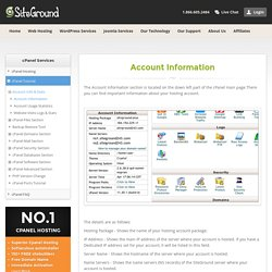 cPanel Account Information Tutorial