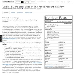 Guide To Mend Error Code 14 In A Yahoo Account Instantly