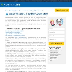 How to Open Demat Account? Procedure & Charges - Angel Broking