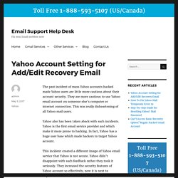 Yahoo Account Setting for Add/Edit Recovery Email - Email Support Help Desk