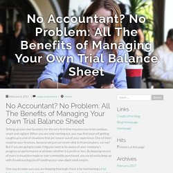 No Accountant? No Problem: All The Benefits of Managing Your Own Trial Balance Sheet