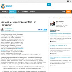 Reasons To Consider Accountant For Contractors