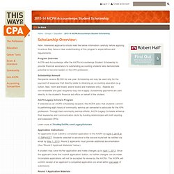 2013-14 AICPA/Accountemps Student Scholarship - This Way To CPA Community