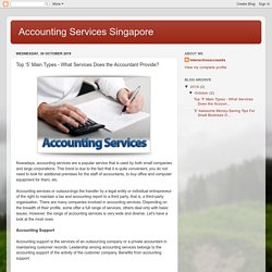 Top '5' Main Types - What Services Does the Accountant Provide?