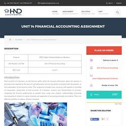 Unit 14 Financial Accounting Assignment - HND Assignment Help