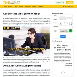 Accounting Assignment Help - hire best Accounting Experts in Australia