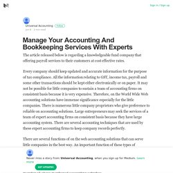 Manage Your Accounting And Bookkeeping Services With Experts