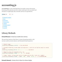 accounting.js - format money / currency in JavaScript