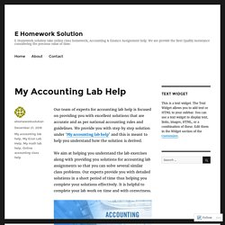 My Accounting Lab Help – E Homework Solution