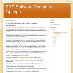 ERP Software Company - Openpro: Open ERP Software and Accounting Software Manufacturing