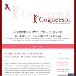 Eliminate Accounting Errors by Outsourcing Accounting Services – Cogneesol