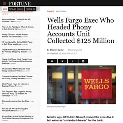 Wells Fargo Exec Who Headed Phony Accounts Unit Collected $125 Million