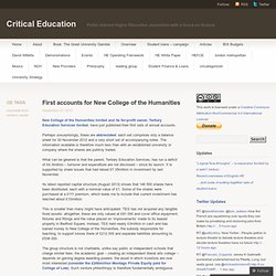 First accounts for New College of the Humanities | Critical Education andrew mcgettigan