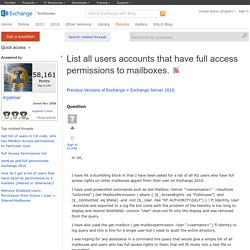 List all users accounts that have full access permissions to mailboxes.