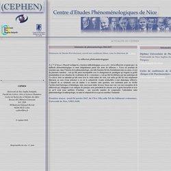 CEPHEN - Centre d'Etudes Phénoménologiques de Nice
