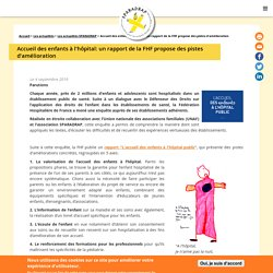 Accueil des enfants à l'hôpital: un rapport de la FHF propose des pistes d'amélioration
