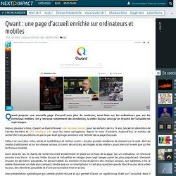 Qwant : une page d'accueil enrichie sur ordinateurs et mobiles