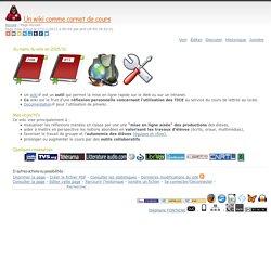 Un wiki comme carnet de cours : Accueil - Page Accueil