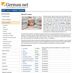 German cases - accusative, dative, nominative and genitive exercises