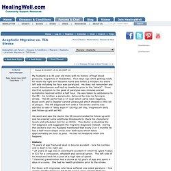 Acephalic Migraine vs. TIA Stroke - Migraine - Headache