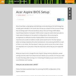 Acer Aspire BIOS Setup