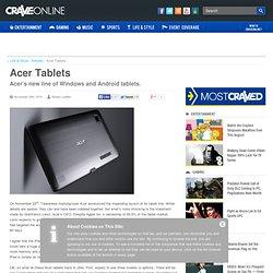 Acer Tablets - CraveOnline.com