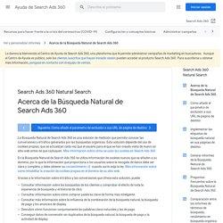 Acerca de la Búsqueda Natural de SearchAds360 - Ayuda de SearchAds360