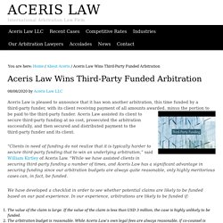 Aceris Law Wins Third-Party Funded Arbitration