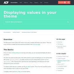 Displaying values in your theme