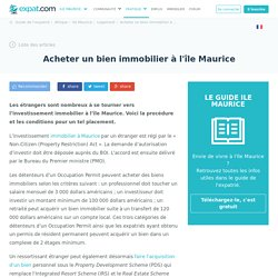 Acheter un bien immobilier à l'île Maurice, Logement à l'Ile Maurice