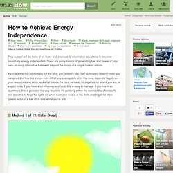 13 Ways to Achieve Energy Independence