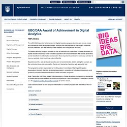Award of Achievement in Web Analytics - Program Format and Curriculum