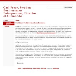 Carl Freer Achievements in Business