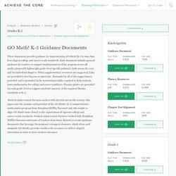 GO Math! K-5 Guidance Documents
