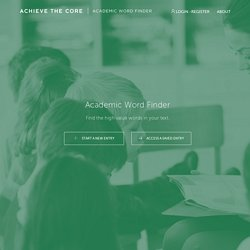 Instructional Practice Guide: Academic Word Finder