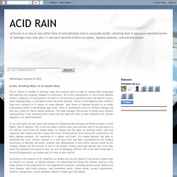 ACID RAIN: Acidic Drinking Water & Its Health Risks