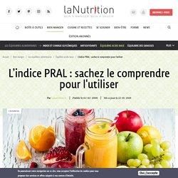 Indice PRAL, tableau des aliments acidifiants & alcalinisants