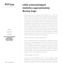 Little acknowledged statistics approximately Burlap bags