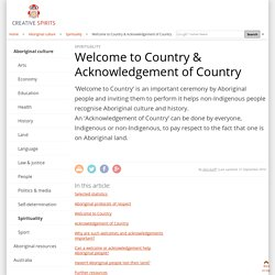 Welcome to Country & Acknowledgement of Country