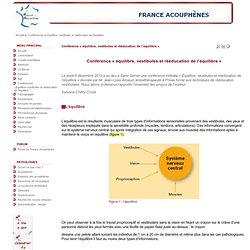 Conférence « équilibre, vestibules et rééducation de l'équilibre »