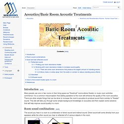 Acoustics/Basic Room Acoustic Treatments