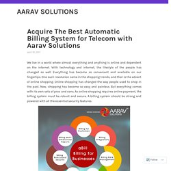 Aarav Solutions for The Best Automatic Billing System for Telecom