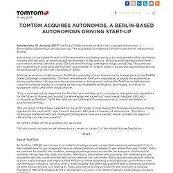 Tom Tom acquires Autonomos