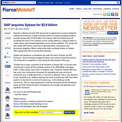 SAP acquires Sybase for $5.8 billion